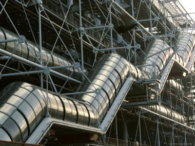 Close-up of a Modern Stairway at the Centre Pompidou in Paris