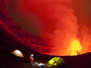 Expedition Campsite at the Second Platform of Nyiragongo Volcano by Peter Carsten