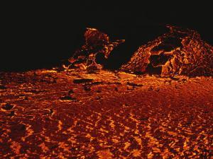 Glowing Lava Boils and Bubbles from Mount Etnas 2002 Eruption by Peter Carsten
