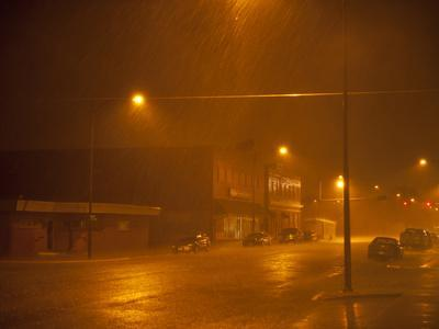 Pouring Rain in a Small Town
