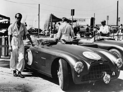 Peter Collins with an Aston Martin, Sebring, Florida, USA, 1950S