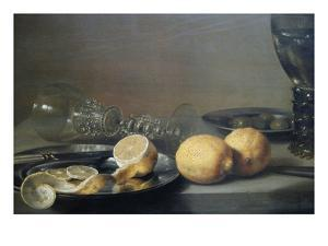 Still Life with Two Lemons, a Facon De Venise Glass, Roemer, Knife and Olives on a Table by Peter da Heem