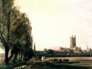 Gloucester from the Meadows, Gloucestershire, Landscape with Cattle and Grass, Cotswolds, c.1840 by Peter De Wint
