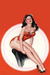 Eyeful Magazine; Brunette in a Red Bathing Suit by Peter Driben