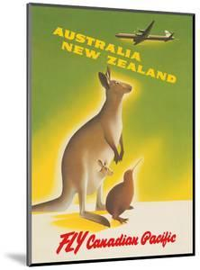 Australia - New Zealand - Fly Canadian Pacific Air Lines - Kangaroo with Baby Joey, Kiwi by Peter Ewart