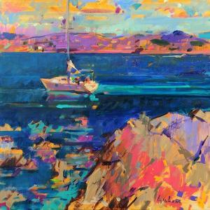 At Anchor, St Tropez Coast by Peter Graham