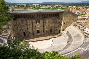 Amphitheatre and View over Town, Orange, Provence Alpes-Cote D'Azur, France, Europe by Peter Groenendijk