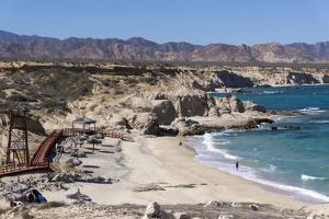 Beach and whale watch tower, Cabo Pulmo, UNESCO World Heritage Site, Baja California, Mexico, North by Peter Groenendijk