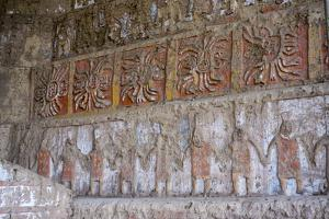 Huaca del Sol y de la Luna, precolombian (Moche) structure, polychrome friezes, Peru, South America by Peter Groenendijk