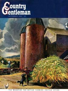 """Corn Silos,"" Country Gentleman Cover, September 1, 1950 by Peter Helck"