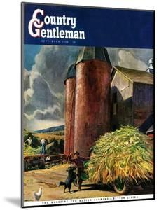 """""""Corn Silos,"""" Country Gentleman Cover, September 1, 1950 by Peter Helck"""