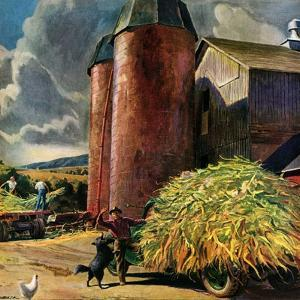 """""""Corn Silos,""""September 1, 1950 by Peter Helck"""
