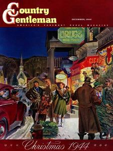 """""""Main Street at Christmas,"""" Country Gentleman Cover, December 1, 1944 by Peter Helck"""