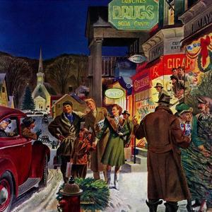 """""""Main Street at Christmas,""""December 1, 1944 by Peter Helck"""