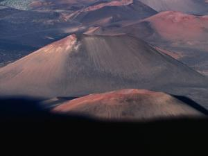 Aerial View of Volcanic Crater, Haleakala National Park, USA by Peter Hendrie