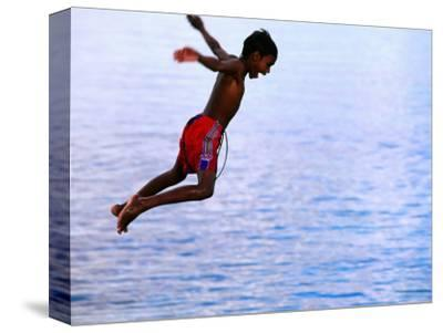 Boy Falling into Water, Lifou Island, Loyalty Islands, New Caledonia
