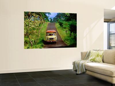 Bus Travelling on Island Road, Upolu, Samoa