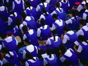 Female Students Sitting Together, Nuku'Alofa, Tongatapu Group, Tonga by Peter Hendrie