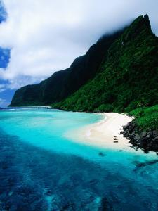 Forested Hills, Beach and Lagoon, American Samoa by Peter Hendrie