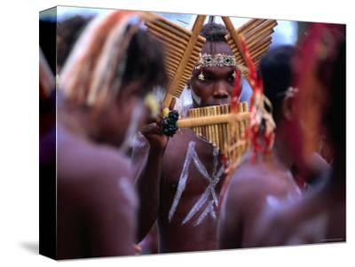 Man Playing Panpipe, Malaita Island, Malaita, Solomon Islands