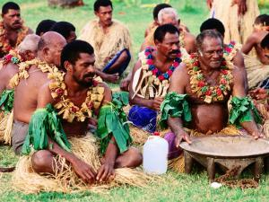 Men Seated for Ceremony, Fiji by Peter Hendrie