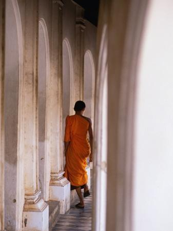 Monk Walking Away, Bangkok, Thailand by Peter Hendrie