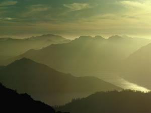 Soft Light Over Mountains and Lake Pedder, Lake Pedder, Australia by Peter Hendrie
