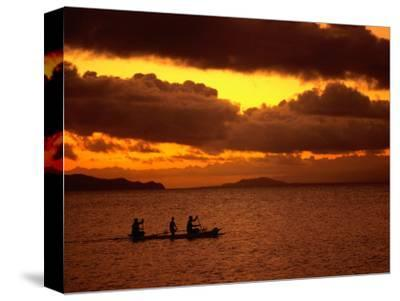 Sunset Over the Sea with an Outrigger in Silhouette, Upolu, Samoa, Upolu