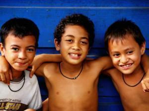 Three Young Boys, Upolu, Samoa by Peter Hendrie