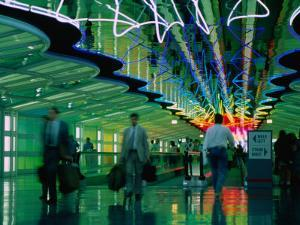 Walkway in International Airport, Chicago, Illinois by Peter Hendrie