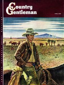 """Cattleman,"" Country Gentleman Cover, June 1, 1946 by Peter Hurd"