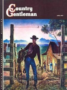 """Cowboy at End of the Day,"" Country Gentleman Cover, June 1, 1947 by Peter Hurd"