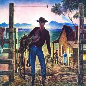"""""""Cowboy at End of the Day,""""June 1, 1947 by Peter Hurd"""