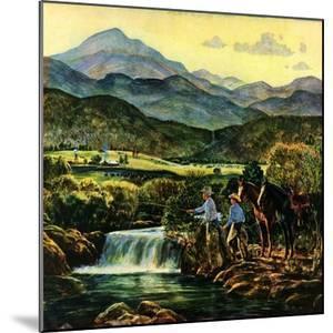 """""""Cowboys Fishing in Stream,""""June 1, 1950 by Peter Hurd"""