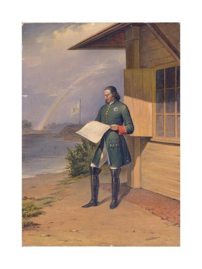 Peter I on the Bank of the Neva River, 1843-Anton Ivanovich Ivanov-Giclee Print