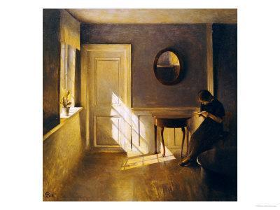 A Girl Reading in an Interior