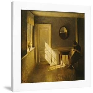 A Girl Reading in an Interior by Peter Ilsted