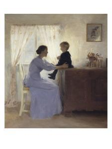Mother and Child in an Interior, 1898 by Peter Ilsted