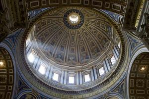 Interior View of the Dome of St. Peter's Basilica, Vatican, Rome, Lazio, Italy, Europe by Peter