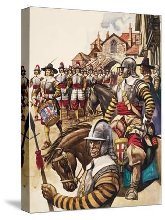 A Group of Pikemen of the New Model Army March into Battle Led by a Drummer