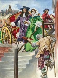 An Old Soldier Begs King Charles Ii, with the Chelsea Hospital Behind by Peter Jackson