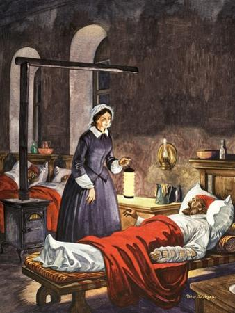 Florence Nightingale. The Lady with the Lamp, Visiting the Sick Soldiers in Hospital by Peter Jackson