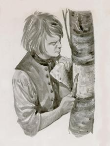 George Washington Peeling Bark from a Tree to Write On by Peter Jackson