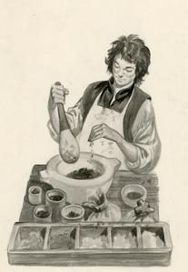Michelangelo, as a an Apprentice, Mixing Paints by Peter Jackson