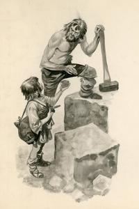 Michelangelo, as a Boy, Helping Stone-Cutters at their Work by Peter Jackson