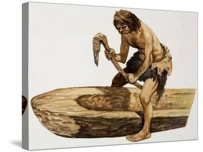 Stone Age Man Digging Out a Canoe