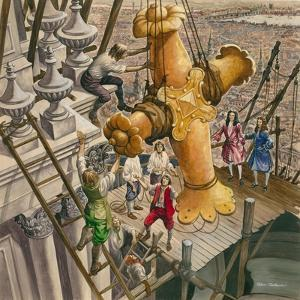 The Golden Cross Being Placed on the Top of St Paul's Cathedral by Peter Jackson