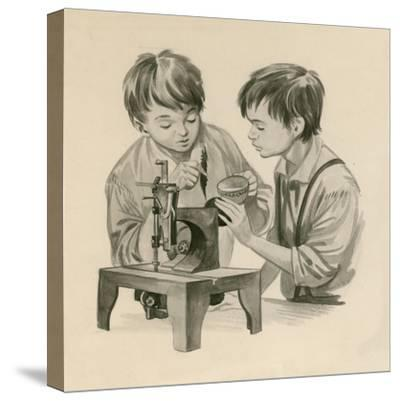 The Wright Brothers as Boys, Dropping Water into the Sewing Matchine with a Feather