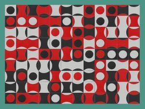 BLACK WHITE & RED COMPOSIT OF CIRCLES by Peter McClure