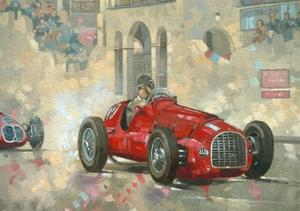 Whitehead's Ferrari Passing the Pavillion, Jersey by Peter Miller